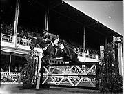 "02/08/1960<br /> 08/02/1960<br /> 02 August 1960<br /> R.D.S Horse Show Dublin (Tuesday). Lieut. E.P. O'Donohoe, Ireland, on ""Cill an Fhail"", at the Dublin Horse Show."