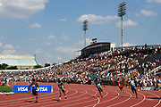 General view of Michael A. Carroll Track & Soccer Stadium during a first-round heat of the 200 meters in the USA Track & Field Championships in Indianapolis, Indiana on Saturday, June 24, 2006.