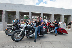 East Coast riders outside of the Mt Rushmore National Monument during the 75th Annual Sturgis Black Hills Motorcycle Rally.  SD, USA.  August 8, 2015.  Photography ©2015 Michael Lichter.