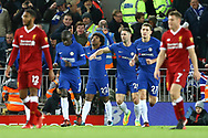 Willian of Chelsea (22) celebrates after scoring his teams 1st goal to make it 1-1. Premier League match, Liverpool v Chelsea at the Anfield stadium in Liverpool, Merseyside on Saturday 25th November 2017.<br /> pic by Chris Stading, Andrew Orchard sports photography.