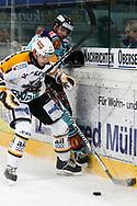 05.03.2011, Rapperswil-Jona, Eishockey NLA, Rapperswil-Jona Lakers - HC Lugano, Cyrill GEyer (LAK) gegen Tristan Vauclair (LUG)  (Thomas Oswald/hockeypics)
