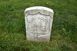 26 August 2017:   A part of the History of McLean County Illinois.<br /> <br /> Tombstones in Evergreen Memorial Cemetery.  Civic leaders, soldiers, and other prominent people are featured. Section 5, the old town soldiers area<br /> Milton Hutchins  Co L  2 KY INF Spanish American War