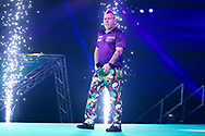 Peter Wright enters the arena during the PDC Premier League Darts Night 11 at Marshall Arena, Milton Keynes, United Kingdom on 6 May 2021.