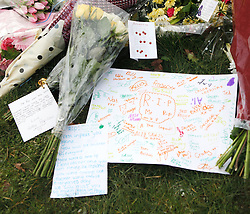 © Licensed to London News Pictures. 20/02/2012. Alvechurch, UK. Tributes are laid at Alvechurch Middle School following the coach crash which claimed a life of one of their teachers, 52 year old Peter Rippington.  The accident, which happened following a skiing trip in France has also left 10 other children injured with one remaining critically ill.    Photo credit: Alison Baskerville/LNP