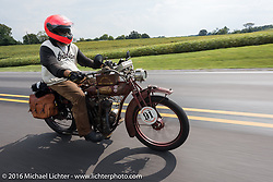 Ziggy riding his 1916 Indian during the Motorcycle Cannonball Race of the Century. Stage-5 from Bloomington, IN to Cape Girardeau, MO. USA. Wednesday September 14, 2016. Photography ©2016 Michael Lichter.