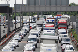 © Licensed to London News Pictures. 23/05/2014<br /> May Bank Holiday weekend getaway traffic today (23.05.2014)<br /> on the M25 in Dartford,Kent.<br /> Traffic at a standstill on the M25 towards the Dartford Tunnel Anti-clockwise at 1pm this afternoon.<br /> Photo credit :Grant Falvey/LNP