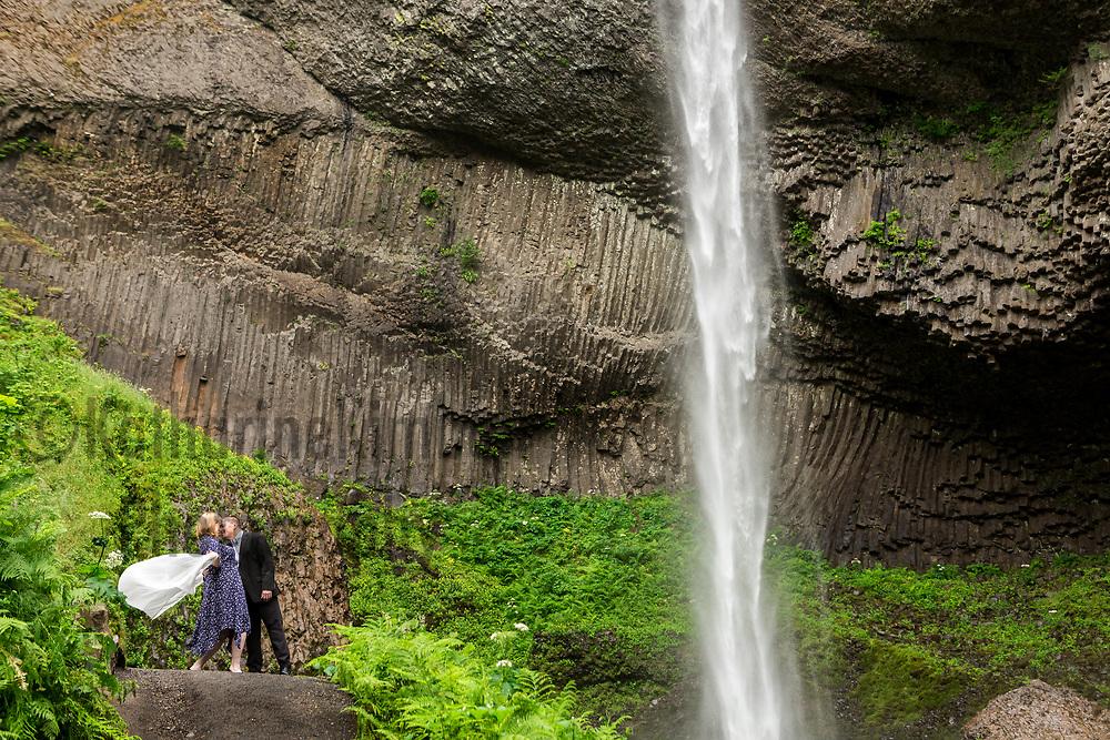 Engagement photo session at Bridal Veil Falls, Latourell Falls, Corbett, OR.