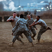 Soldiers of 3-2 GSAB, 2ID enjoy a late afternoon game of Touch football during Key Resolve '16. South Korea