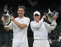 Lawn Tennis - 2021 All England Championships - Men's Final Sunday - Wimbledon - Mixed Doubles Final on Centre Court. Neal Skupski and Desirae Krawczyk v Joe Salisbury and Harriet Dart<br /> <br /> Neal Skupski and Desirae Krawczyk with their trophies<br /> <br /> Credit : COLORSPORT / Andrew Cowie