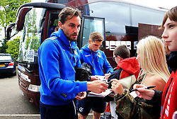 Ed Upson of Bristol Rovers signs autographs for fans outside Highbury Stadium - Mandatory by-line: Matt McNulty/JMP - 27/04/2019 - FOOTBALL - Highbury Stadium - Fleetwood, England - Fleetwood Town v Bristol Rovers - Sky Bet League One