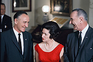 President Lyndon Johnson, First Lady Lady Bird Johnson and Senate Majority Leader Mike Mansfield at an event in the Lincoln Bedroom of the White House,<br /> Photo by Dennis Brack bb72