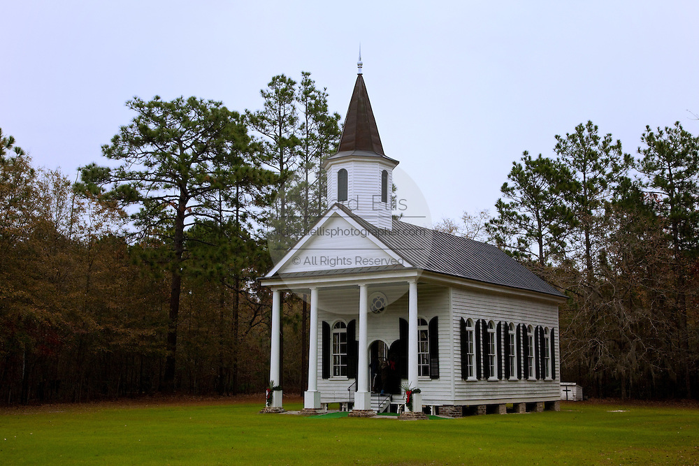 Stoney Creek Independent Presbyterian Church, also known as the Stoney Creek Chapel built in 1832 McPhersonville, South Carolina. The austere chapel is built in the Greek Revival style and used featured in the movie Forrest Gump. .