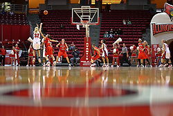 31 December 2007: Maggie Krick shoots the three pointer.The Huskies of Northern Illinois University were leashed up by the Redbirds of Illinois State University 78-54 on Doug Collins Court in Redbird Arena in Normal Illinois.