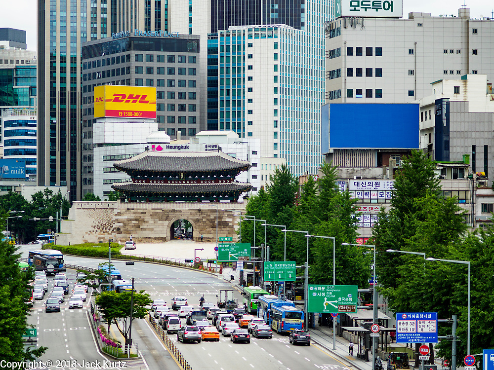 SEOUL, SOUTH KOREA: Looking north at the historic South Gate (which once marked the southern boundary of Seoul) from the pedestrian skywalk near Seoul Station.       PHOTO BY JACK KURTZ