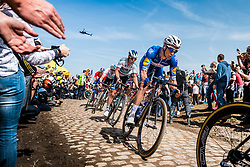 Niki TERPSTRA from the Netherlands of Quick-Step Floors at the 4 star cobblestone sector 26 from Fontaine-au-Tertre to Quievy during the 2018 Paris-Roubaix race, France, 8 April 2018, Photo by Pim Nijland / PelotonPhotos.com   All photos usage must carry mandatory copyright credit (Peloton Photos   Pim Nijland)