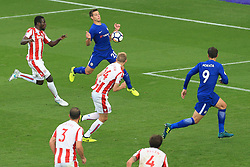 23rd September 2017 - Premier League - Stoke City v Chelsea - Cesar Azpilicueta of Chelsea chests the ball into the path of teammate Alvaro Morata for him to score their 4th goal and complete his hat-trick - Photo: Simon Stacpoole / Offside.