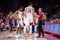 FAYETTEVILLE, AR - MARCH 4:  Head Coach Eric Musselman of the Arkansas Razorbacks talks with his team during a game against the LSU Tigers at Bud Walton Arena on March 4, 2020 in Fayetteville, Arkansas.  The Razorbacks defeated the Tigers 99-90.  (Photo by Wesley Hitt/Getty Images) *** Local Caption *** Eric Musselman