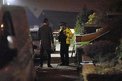 © Licensed to London News Pictures. 18/03/2021. Bury, UK. Police close off a street in Bury after reports a petrol bomb was thrown at a car this evening. . Photo credit: Joel Goodman/LNP