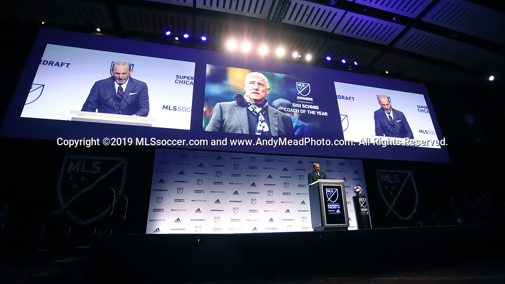 CHICAGO, IL - JANUARY 11: MLS Commissioner Don Garber announces that the coach of the year award has been renamed the Sigi Schmid Coach of the Year Award in honor of the recently deceased Sigi Schmid. The MLS SuperDraft 2019 presented by adidas was held on January 11, 2019 at McCormick Place in Chicago, IL.