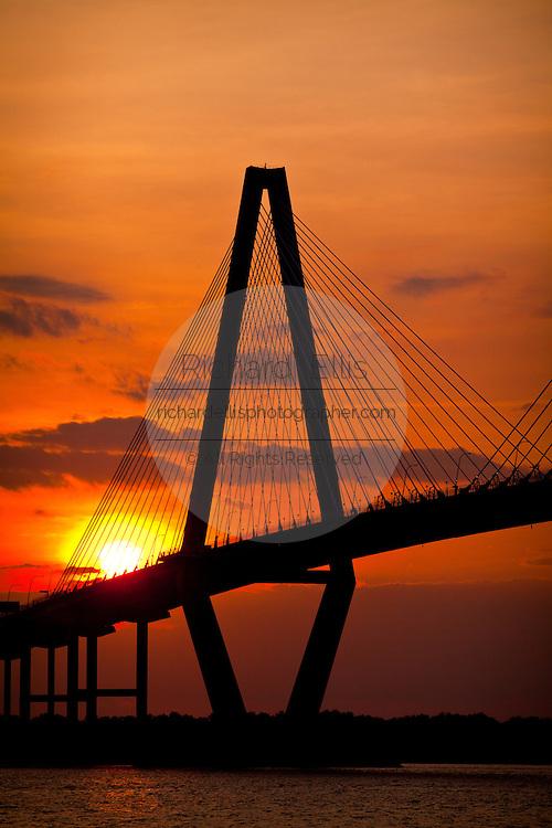 Sunset over the Arthur Ravenel Jr. bridge in Charleston, SC