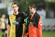 Marine defender Anthony Miley (5) and Marine goalkeeper Bayleigh Passant (1) during the The FA Cup match between Marine and Tottenham Hotspur at Marine Travel Arena, Great Crosby, United Kingdom on 10 January 2021.