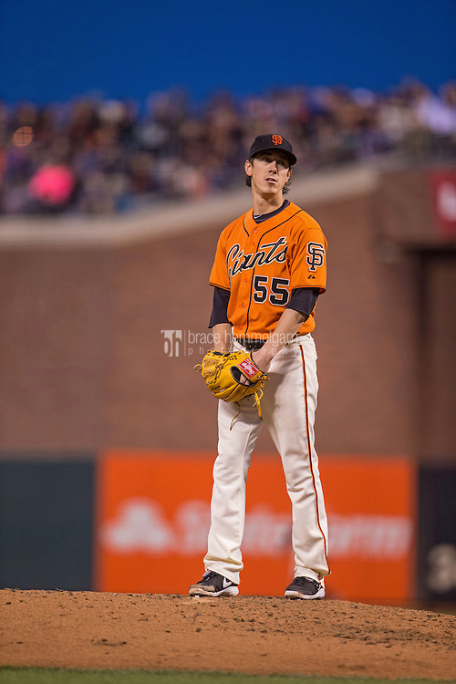 SAN FRANCISCO, CA - MAY 23: Tim Lincecum #55 of the San Francisco Giants pitches against the Minnesota Twins on May 23, 2014 at AT&T Park in San Francisco, California. The Giants defeated the Twins 6-2. (Photo by Brace Hemmelgarn) *** Local Caption *** Tim Lincecum