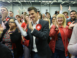 © Licensed to London News Pictures.  08/06/2017; Bristol, UK. General Election 2017; Labour supporters cheer as Thangam Debbonaire is returned in Bristol West for Labour at City of Bristol Academy, beating challengers Molly Scott Cato for the Greens and Stephen Williams for the Lib Dems. Picture credit : Simon Chapman/LNP