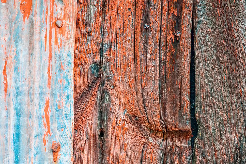 Weathered barn boards and metal flashing, overcast light, October, Carsten Burfiend Farm, Port Oneida Rural Historic District, Sleeping Bear Dunes National Lakeshore, Michigan, USA