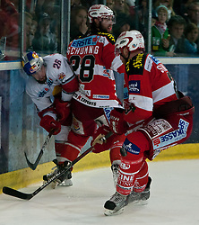 12.04.2011, Volksgarten Arena, Salzburg, AUT, EBEL, FINALE, EC RED BULL SALZBURG vs EC KAC, im Bild Brent Aubin, (EC RED BULL SALZBURG, #26), Martin Schumnig, (EC KAC, #28), Michael Siklenka, (EC KAC, #23) // during the EBEL Eishockey Final, EC RED BULL SALZBURG vs EC KAC at the Volksgarten Arena, Salzburg, 2011-04-12, EXPA Pictures © 2011, PhotoCredit: EXPA/ J. Feichter