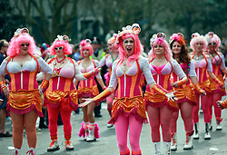 15 Feb 2015. New Orleans, Louisiana.<br /> Mardi Gras. Pretty in Pink. The Pussyfooters dance ahead of The Krewe of Thoth.<br /> Photo; Charlie Varley/varleypix.com