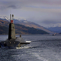 The Royal Navy's Vanguard Class Trident Submarine HMS Vengeance, pictured sailing in Loch Long, Scotland<br /> Pic by Graeme Hart<br /> Copyright Perthshire Picture Agency