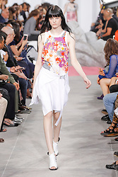 A model walks the runway during the Carven show as a part of Paris Fashion Week Ready to Wear Spring/Summer 2017 in Paris, France on September 29, 2016. Photo by Alain Gil Gonzalez /ABACAPRESS.COM