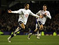 Photo: Paul Thomas.<br /> Everton v Tottenham Hotspur. The Barclays Premiership. 21/02/2007.<br /> <br /> Jermaine Jenas of Tottenham celebrates his winning goal.