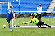 Riccardo Brustia of Italy over 60's misses the target as his penalty attempt goes wide as John Sykes of England over 60's dives during the world's first Walking Football International match between England and Italy at the American Express Community Stadium, Brighton and Hove, England on 13 May 2018. Picture by Graham Hunt.