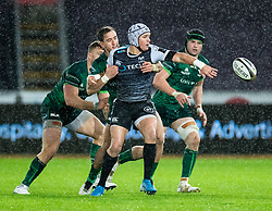 Hanno Dirksen of Ospreys offloads<br /> <br /> Photographer Simon King/Replay Images<br /> <br /> Guinness PRO14 Round 6 - Ospreys v Connacht - Saturday 2nd November 2019 - Liberty Stadium - Swansea<br /> <br /> World Copyright © Replay Images . All rights reserved. info@replayimages.co.uk - http://replayimages.co.uk