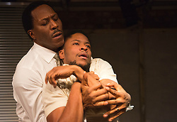"© Licensed to London News Pictures. 01/11/2012. London, England. L-R: Cornell S John and Adetomiwa Edun. World Premiere of ""but i cd only whisper"", a play by Kristina Colón, directed by Nadia Latif, running at the Arcola Studio 2 from 31 October to 1 December 2012. Photo credit: Bettina Strenske/LNP"