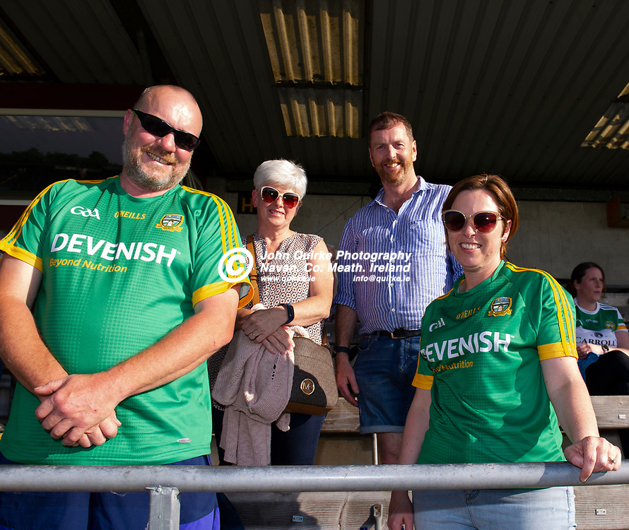 30-06-21. Meath v Offaly - Leinster MFC Final 2020 at TEG Cusack Park, Mullingar.<br />Meath supporters L to R: John Moran, Janet Moran, Ronan Frayne and Pheona Frayne all fro m Summerhill.<br />Photo: John Quirke / www.quirke.ie<br />©John Quirke Photography, 16 Proudstown Road, Navan. Co. Meath. (info@quirke.ie / 046-9028461 / 087-2579454).