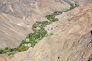 Village with cultivated fields in the High Atlas Mountains, Morocco