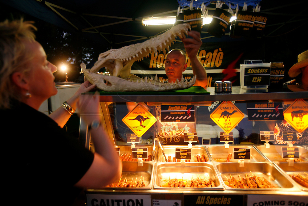 A food stall at Mindill Beach Market selling meat from animals killed on the road.