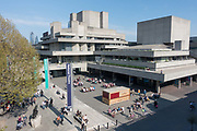 The National Theatre building on the South Bank captured from Waterloo Bridge on the 19th April 2019 in London in the United Kingdom.
