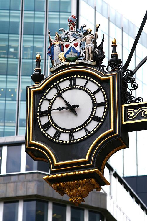 Clock outside Royal Exchange, City of London