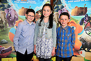 NO FEE PICTURES <br /> 19/4/15 Callum Maloney, age 11, who plays Finny with friends Abbie (age 12) and Aidan (10) Tewkwsbury, Saggart at  the Irish Premiere of Two by Two at the Savoy cinema in Dublin. Picture:Arthur Carron