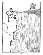 ! (Rock climber reaches the summit of a sheer cliff face and finds a litter bin at the top)