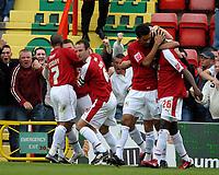 Photo: Ed Godden.<br />Bristol City v Brighton & Hove Albion. Coca Cola League 1. 02/09/2006. Bristol City players celebrate after Scott Brown's opening goal.