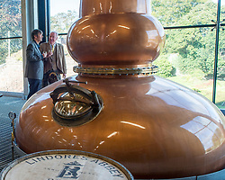 'Rebus' creator Ian Rankin with distillery owner Drew McKenzie Smith after the author opened Scotland's newest distillery at Lindores Abbey in Fife, which is on the site of the earliest recorded distillation of whisky over 500 years ago.<br /> <br /> © Dave Johnston/ EEm