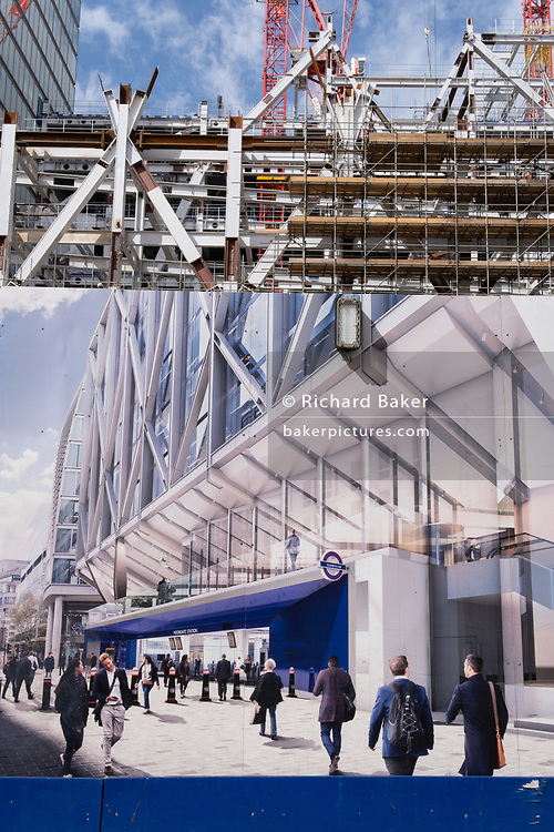 Londoners and commuters walk past the billboards promoting Crossrail's new Queen Elizabeth rail line, the capital's newest on 4th September 2020, on Moorgate in London, England. Crossrail's Elizabeth Line is a 118-kilometre (73-mile) railway line under development in London and the home counties of Berkshire, Buckinghamshire and Essex, England. Crossrail is the biggest construction project in Europe and is one of the largest single infrastructure investments ever undertaken in the UK . Delays and setbacks to the scheme, running three years late is now £3.4 billion over budget to its initial £14.8bn price tag.