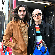 Fyodor Podgorny from Latvia and Golan Frydman from Israel attend The Mayor of London, Sadiq Khan, launch a branded 'We are all Londoners' bus as it begins a four-day 'Advice Roadshow' around the capital. The bus will visit locations in areas with high numbers of European nationals, offering them guidance on how to apply for Settled to Status to remain in the UK following Brexit on 29 March 2019, London, UK.