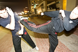 Monday 3rd Jan, 2011. Day four, Some of the team train at night by the beach. Train & Travel is a unique ten day program designed for IKMF's instructors, students & guests, interested in combining Krav Maga training with a tour of the holy land. .©2011 Michael Schofield. All Rights Reserved.