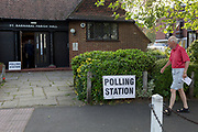 As voting for the European Elections commences at 7AM, voters enter the Polling Station at St. Barnabas Parish Hall in Dulwich Village, on 23rd May 2019, in south London, England UK.