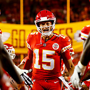 KANSAS CITY, MO - OCTOBER 21: Patrick Mahomes #15 of the Kansas City Chiefs runs through high fives from teammates during pre game introductions prior to the game against the Cincinnati Bengals at Arrowhead Stadium on October 21, 2018 in Kansas City, Kansas. (Photo by David Eulitt/Getty Images)